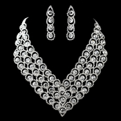Silver Clear Round Rhinestone Necklace & Earrings Jewelry Set 47497