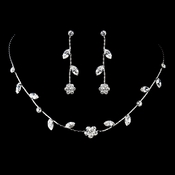 Silver Clear Necklace & Earrings Jewelry Set 71010