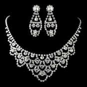 Silver Clear Necklace & Earrings Jewelry Set 71338