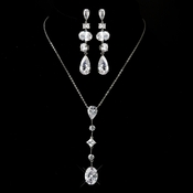 Silver Clear Multi Cut CZ Stone Necklace 2088 & Earrings 1725 Bridal Jewelry Set