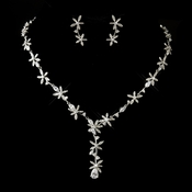 Antique Silver Clear CZ Crystal Floral Necklace Only **Earrings Discontinued**