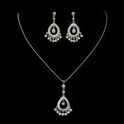 Antique Silver Clear Rhinestone Chandelier Necklace 3818 and Earrings