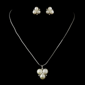 Antique Silver Diamond White Freshwater Pearl Pendant Necklace 6501 & Earrings 9408 Bridal Jewelry Set