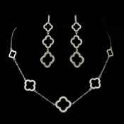 Silver Clear Clover Pendant Necklace & Earrings Bridal Jewelry Set 8715