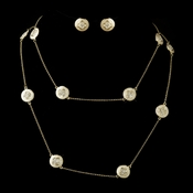 Ivory Stone with Gold and Crystal Necklace & Earrings Bridal Jewelry Set 8728