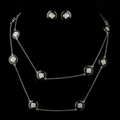 Black Stone with Silver and Crystal Necklace & Earrings Bridal Jewelry Set 8728
