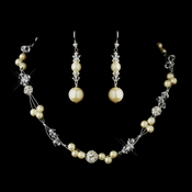 Silver Ivory Pearl and Clear Crystal Necklace 8751 & Earrings 8740 Bridal Jewelry Set