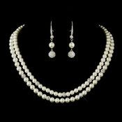 Silver Diamond White Pearl Necklace 8760 & Earrings 8767 Bridal Jewelry Set