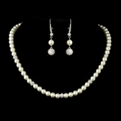 Silver True Ivory Pearl & Clear Rhinestone Pave Ball Necklace 8762 and 8767 Bridal Set
