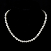 Silver Ivory Pearl Pave Ball Bridal Necklace 8762