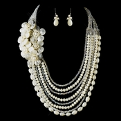 Silver Ivory Pearl & Austrian Crystal Flower Necklace 8769 & Earrings 8253 Bridal Jewelry Set