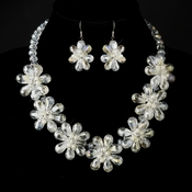 Silver Ivory Pearl &  Austrian Crystal Floral Necklace 8776 & Earrings 8776 Bridal Jewelry Set