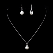 Silver Diamond White Pearl & Clear Rhinestone Dangle Drop Necklace & Earrings Bridal Jewelry Set 8788