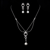 Antique Silver Ivory Pearl Drop & Clear CZ Crystal Necklace & Earrings Bridal Jewelry 9956