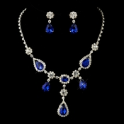 Silver Clear & Multi Blue  Stone Necklace & Earrings Bridal Jewelry Set 12055***Discontinued***