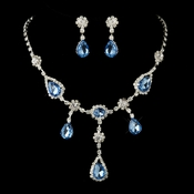 "Silver Clear & Light Blue Necklace & Earrings Bridal Jewelry Set 12055****Discontinued**** ""1 Left"""