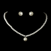 Silver White Pearl Drop & CZ Stone Necklace & Earrings Bridal Jewelry Set 10355