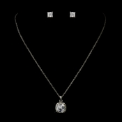 Antique Silver Clear Princess CZ Crystal Necklace & Earrings Bridal Jewelry Set 11995