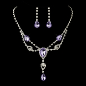 Silver Clear & Light Amethyst Rhinestone Necklace & Earrings Bridal Jewelry Set 12054