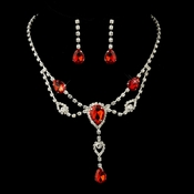 Silver Clear & Red Rhinestone Necklace & Earrings Bridal Jewelry Set 12054