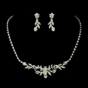 Silver Clear Rhinestone Necklace & Earrings Bridal Jewelry Set 12708