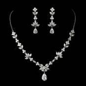 Antique Silver Clear CZ Tear Drop Crystal Necklace & Earrings Bridal Jewelry Set 1287