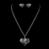 Silver Clear and Black Animal Print Heart Necklace & Earrings Jewelry Set 13135