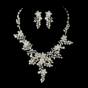 Silver Ivory Pearl & Rhinestone Floral Necklace & Earrings Bridal Jewelry Set 7186