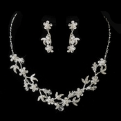 Silver Clear Swarovski Crystal & Rhinestone Necklace & Earrings Bridal Jewelry Set 7206