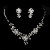 Silver Clear Swarovski Crystal Bridal Jewelry Set 8002
