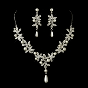 Antique Silver Diamond White Pearl Accents Necklace & Earrings Bridal Jewelry Set 8017