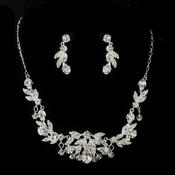 Silver Clear Austrian & Rhinestone Necklace & Earrings Bridal Jewelry Set 8214