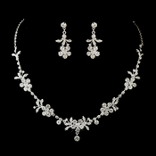 Silver Clear Rhinestone Floral Necklace & Earrings Bridal Jewelry Set 8218