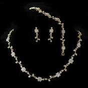 Gold Clear Rhinestone Floral Necklace & Earrings Jewelry Set 385***Discontinued***