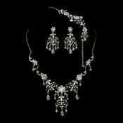Antique Silver Diamond White Pearl & Swarovski Crystal Necklace, Earrings & Bracelet Jewelry Set 1322
