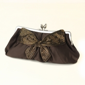 Brown Matte Satin Beaded Bow Tie Bridal Evening Bag 301