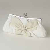 White Matte Satin Bridal Beaded Bow Tie Evening Bag 301