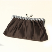 Brown Satin Rhinestone Evening Bag 302