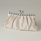 Ivory Satin Rhinestone Evening Bag 302