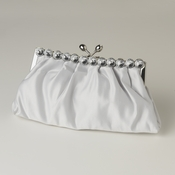 Silver Satin Rhinestone Evening Bag 302