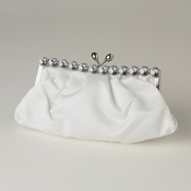 White Satin Rhinestone Evening Bag 302