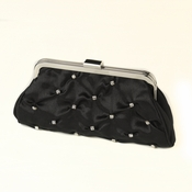 Black Satin Rhinestone Evening Bag 303