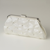 Ivory Satin Rhinestone Evening Bag 303