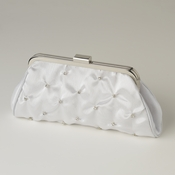 White Satin Rhinestone Evening Bag 303