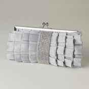 Silver Satin Ruffle Evening Bag 307 with Rhinestone Banding