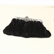 Black Satin Evening Bag 308 with Rhinestone Accented Vintage Frame