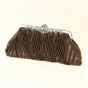 Coffee Satin Evening Bag 308 with Rhinestone Accented Vintage Frame