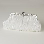 Cream Satin Evening Bag 308 with Rhinestone Accented Vintage Frame