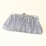 Silver Satin Evening Bag 308 with Rhinestone Accented Vintage Frame