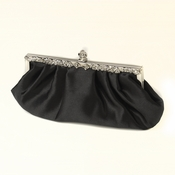 Black Satin Evening Bag 309 with Rhinestone Accented Vintage Frame